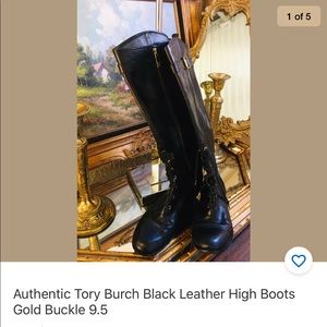 Authentic Tory Burch Black Leather High Boots 9.5